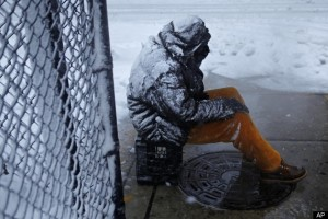 Homeless man in winter