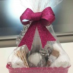 small basket with laundry items for silent auction