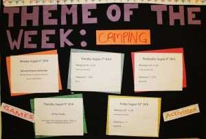 The theme board for each week of camp