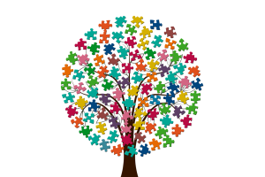 Illustrated tree with puzzle pieces as leaves