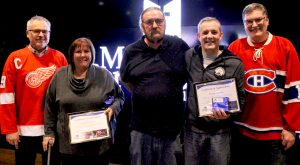Kim Trudgeon, Tom Bissett, and Doug Nemeth (from left to right) celebrating 10 years of service