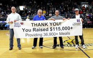 Banner Reveal for the Scan Away Hunger 2018 Campaign at a London Lightning game