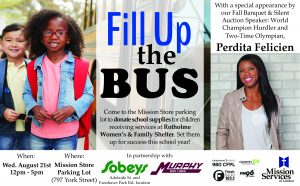 Fill Up the Bus ad - donate school supplies to children in need at Rotholme on August 21, 2019