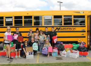 Fill Up the Bus donations - school supplies for children in need at Rotholme Family Shelter