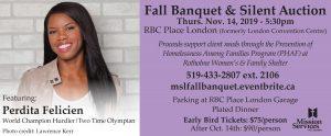 Fall Banquet & SIlent Auction 2019 Perdita Felicien speaker - Mission Services of London