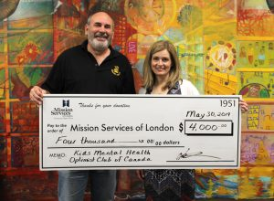 Donation Cheque Presentation from Kids Mental Health Optimist Club of Canada to Mission Services of London