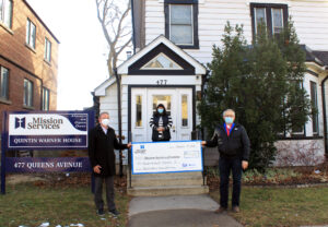 Giant $110,000 cheque made out to Mission Services of London by Drewlo Holdings